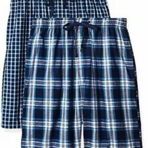 Hanes Mens Pajama Shorts Blue 2-pack Sz S